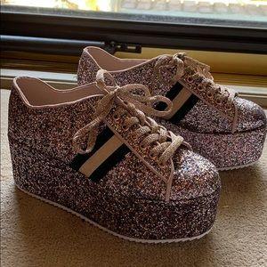 Glitter BAMBOO platform shoes